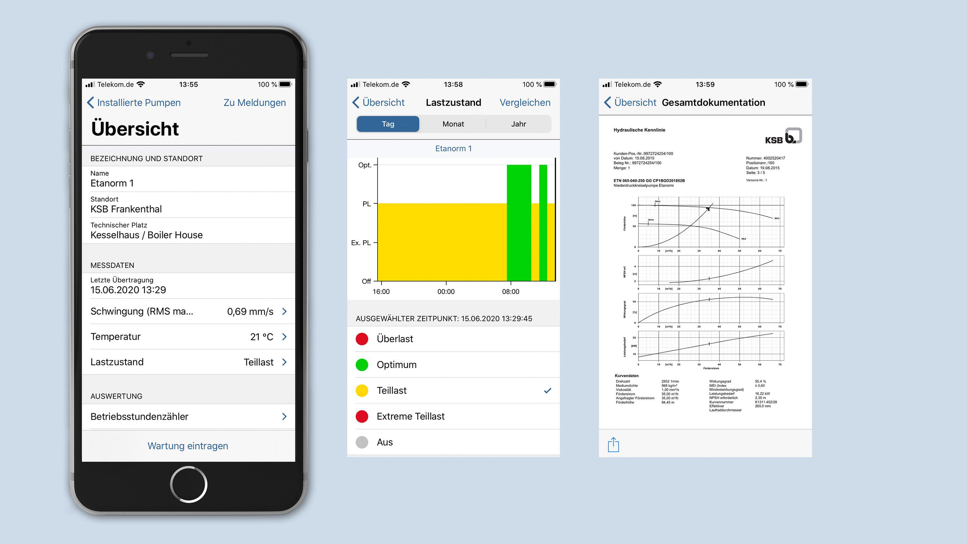 Die KSB Guard App auf dem Handy oder Tablett